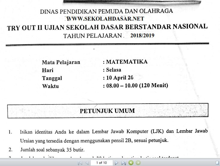 Soal Try Out II USBN SD Matematika 20182019